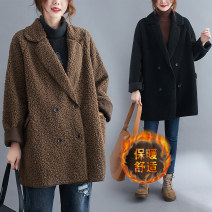 Women's large Winter 2020 khaki L [100-150 Jin recommended], XL [150-200 Jin recommended] Jacket / jacket singleton  commute easy thickening Cardigan Long sleeves Solid color literature Medium length routine Other / other 25-29 years old Button 71% (inclusive) - 80% (inclusive) Cotton 50% and below