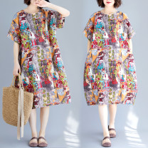 Women's large Summer 2020 Picture color One size fits all [110-220 kg recommended] Dress singleton  commute easy moderate Socket Short sleeve Decor ethnic style Crew neck Medium length cotton printing and dyeing routine Other / other 18-24 years old pocket 71% (inclusive) - 80% (inclusive) longuette