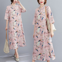Women's large Summer 2020 Pink M [suggested 90-105 kg], l [suggested 105-120 kg], XL [suggested 120-140 kg], XXL [suggested 140-160 kg] Dress singleton  commute easy moderate Socket three quarter sleeve Animal patterns, plants and flowers Retro stand collar Medium length cotton Bat sleeve