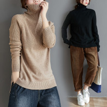 Women's large Winter of 2019 Camel, black Large size average size [100-200kg recommended] sweater singleton  commute easy thickening Socket Long sleeves Solid color Korean version High collar routine acrylic fibres Three dimensional cutting other Other / other 31% (inclusive) - 50% (inclusive)
