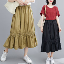 skirt Spring 2021 Large size average size [100-180 Jin recommended] Khaki, white, black Mid length dress commute High waist Ruffle Skirt Solid color Type A 51% (inclusive) - 70% (inclusive) brocade Other / other cotton literature