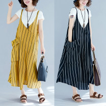 Dress Summer 2020 Yellow, black L [100-150 Jin recommended], XL [150-200 Jin recommended] longuette singleton  Sleeveless commute V-neck Loose waist Solid color Socket Irregular skirt camisole Type A Other / other literature pocket 81% (inclusive) - 90% (inclusive)