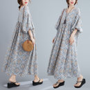 Women's large Summer 2020 Light blue, dark blue One size fits all [recommended 100-185 kg] Dress singleton  commute easy Socket three quarter sleeve Abstract pattern literature V-neck Medium length puff sleeve Other / other longuette