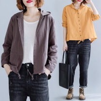 Women's large Spring 2020 Gray, yellow Large size average size [100-200kg recommended] shirt singleton  commute easy moderate Cardigan Long sleeves Solid color literature Hood routine cotton routine 5088# Other / other 25-29 years old 31% (inclusive) - 50% (inclusive)