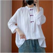 Women's large Autumn 2020 white L [100-150 Jin recommended], XL [150-200 Jin recommended] shirt singleton  commute easy moderate Cardigan Long sleeves Solid color literature stand collar routine hemp routine Other / other 51% (inclusive) - 70% (inclusive)