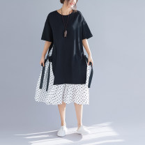 Women's large Summer 2020 black One size fits all [recommended 100-185 kg] Dress singleton  commute easy thin Socket Short sleeve Dot literature Crew neck Medium length polyester Three dimensional cutting routine Other / other 51% (inclusive) - 70% (inclusive) Medium length tassels