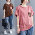 Women's large Summer 2020 T-shirt singleton  commute easy thin Socket Short sleeve shape literature Crew neck routine cotton Collage routine Other / other Embroidery 91% (inclusive) - 95% (inclusive)