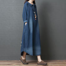Women's large Spring 2020 Denim blue M [90-110 Jin], l [110-125 Jin], XL [125-140 Jin], XXL [140-170 Jin] Dress singleton  commute easy moderate Socket Long sleeves other Korean version Polo collar Medium length cotton routine Other / other 25-29 years old pocket 96% and above