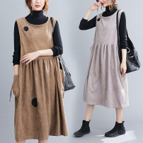 Dress Autumn 2020 Khaki, grey M [suggested 90-120 kg], l [suggested 120-140 kg], XL [suggested 140-160 kg], XXL [suggested 160-190 kg] longuette singleton  Sleeveless commute Crew neck Loose waist Solid color Socket A-line skirt straps 25-29 years old Type A Other / other literature pocket cotton