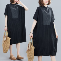 Women's large Summer 2020 black Large L (100-150kg), large XL (150-220kg) Dress singleton  commute easy moderate Socket Short sleeve Solid color literature stand collar Medium length cotton Three dimensional cutting Other / other 25-29 years old 71% (inclusive) - 80% (inclusive) Medium length