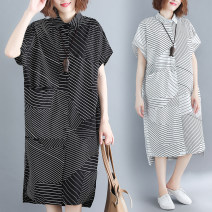 Women's large Summer of 2019 White, black Large L [100-170 kg], large XL [170-230 kg] Dress singleton  commute easy thin Socket Short sleeve stripe Korean version Polo collar Medium length cotton printing and dyeing Other / other