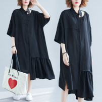 Women's large Summer 2020 black One size fits all [110-240 kg recommended] Dress singleton  commute easy thin Socket Short sleeve Solid color Korean version Polo collar Medium length Three dimensional cutting Bat sleeve Other / other Asymmetry 51% (inclusive) - 70% (inclusive) longuette