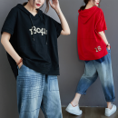 Women's large Summer 2021 Red, black L [recommended 100-130 kg], XL [recommended 130-150 kg], XXL [recommended 150-170 kg], XXXL [recommended 170-210 kg] T-shirt singleton  commute easy thin Socket Short sleeve Words / numbers literature Hood routine routine Other / other Embroidery