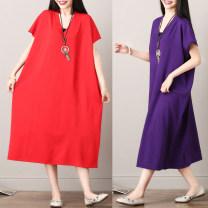 Women's large Summer of 2018 Red, purple, green, black One size fits all [110-240 Jin] Dress singleton  commute easy moderate Socket Short sleeve Korean version V-neck Medium length Other / other longuette