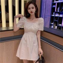 Dress Spring 2021 White, black Average size Short skirt singleton  Short sleeve commute square neck High waist puff sleeve 18-24 years old Type A Korean version