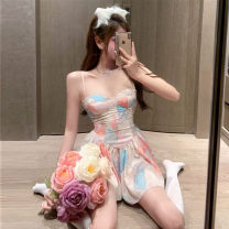 Dress Summer 2021 Short skirt Sleeveless commute singleton  Design and color High waist 18-24 years old Type A Korean version xx camisole S,M,L