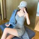 Dress Summer 2021 Gray, black Average size Short skirt singleton  Sleeveless commute One word collar camisole 18-24 years old Korean version