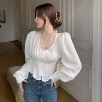 shirt white S,M,L Spring 2021 other 30% and below Long sleeves commute Short style (40cm < length ≤ 50cm) V-neck Single row multi button shirt sleeve 18-24 years old Self cultivation Korean version