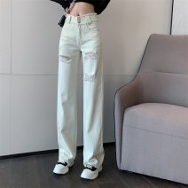 Jeans Spring 2021 Picture color S,M,L trousers High waist Wide legged trousers routine 18-24 years old light colour