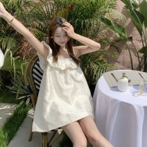 Dress Summer 2021 white S, M Short skirt singleton  Sleeveless commute square neck High waist Solid color Lotus leaf sleeve 18-24 years old Type A Korean version XL other