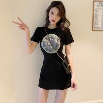Dress Summer 2021 black Average size Short skirt singleton  Short sleeve commute Crew neck Abstract pattern Socket routine 18-24 years old Type A Korean version