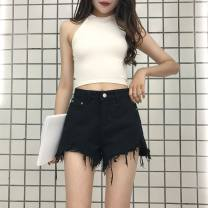 Jeans Spring 2021 Blue, black S,M,L shorts High waist Straight pants routine 18-24 years old washing