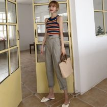 Fashion suit Summer of 2018 S M L average code Black top blue top card pants light green pants 18-25 years old