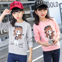 T-shirt Adul Choose 120 for 110, choose 130 for 110, choose 140 for 120, choose 150 for 130, choose 160 for 140, choose 150 for 150 female spring and autumn Long sleeves Crew neck leisure time There are models in the real shooting nothing cotton Cartoon animation Class B other Autumn of 2018
