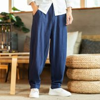Casual pants Others Youth fashion M,L,XL,2XL,3XL,4XL,5XL routine trousers Other leisure easy Micro bomb JR-VJHSAS summer Large size Chinese style 2021 middle-waisted Straight cylinder Other 100% Haren pants Hem at hem washing Solid color hemp