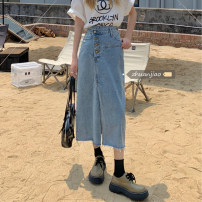 skirt Summer 2021 Medium length skirt A-line skirt commute 71% (inclusive) - 80% (inclusive) Solid color Other / other Korean version High waist polyester fiber 18-24 years old Type A Button other S,M,L Denim blue