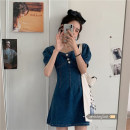 Dress Spring 2021 Denim S,M,L Short skirt singleton  Short sleeve commute square neck High waist Solid color zipper A-line skirt puff sleeve Others 18-24 years old Type A Other / other Korean version zipper 71% (inclusive) - 80% (inclusive) Denim polyester fiber