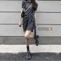 Dress Summer 2021 Dark grey, black Average size Short skirt singleton  Short sleeve commute Crew neck High waist Solid color Socket other other Others 18-24 years old Type H Other / other Korean version 71% (inclusive) - 80% (inclusive) other polyester fiber
