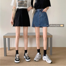 skirt Summer 2021 S,M,L,XL Blue, black Short skirt commute High waist A-line skirt Solid color Type A 18-24 years old 71% (inclusive) - 80% (inclusive) Other / other polyester fiber Korean version