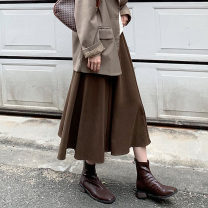 skirt Spring 2021 S,M,L Black, brown Mid length dress commute High waist A-line skirt Solid color Type A 18-24 years old More than 95% other polyester fiber Korean version