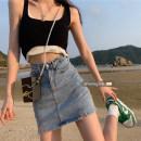 skirt Summer 2021 S,M,L Blue, black Short skirt commute High waist skirt Solid color Type A 18-24 years old 71% (inclusive) - 80% (inclusive) other Other / other polyester fiber Korean version