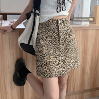 skirt Summer 2021 Short skirt High waist A-line skirt 71% (inclusive) - 80% (inclusive) commute polyester fiber Leopard Print 18-24 years old Type A Other / other other Korean version S,M,L Picture color