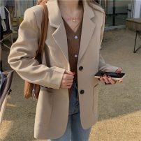 suit Spring 2021 Apricot, black Average size Long sleeves routine Straight cylinder tailored collar Single breasted commute routine Solid color 18-24 years old 96% and above nylon Other / other Button