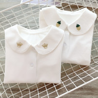 shirt Pure white, white (crown), white (love), white (pineapple), white (Swan), white (cherry) Other / other female The recommended height is 80cm for tag 90, 90cm for tag 100, 100cm for tag 110, 110cm for tag 120, 120cm for tag 130, 130cm for tag 140 and 140cm for tag 150 spring and autumn cotton
