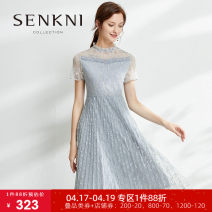 Dress Summer 2020 S M L XL XXL longuette singleton  Short sleeve commute Crew neck middle-waisted Solid color Socket A-line skirt routine Others 25-29 years old Type X Senkni / San CONI More than 95% polyester fiber Polyester 100% Same model in shopping mall (sold online and offline)