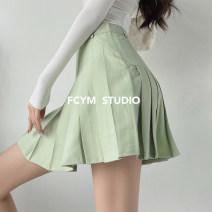 skirt Summer 2021 XS,S,M,L,XL White (bottoms) , Dark grey (with underwear) , Black (with underwear) , Mint green (with underwear) , Khaki (underwear) , White (bottomless) , Dark grey (bottomless) , Black (bottomless) , Mint green (bottomless) , Khaki (bottomless) Short skirt street High waist Type A