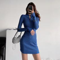 Dress Autumn 2020 Black, army green, sapphire blue, Dark Khaki, sand red, charcoal gray S, M Short skirt singleton  Long sleeves street Europe and America
