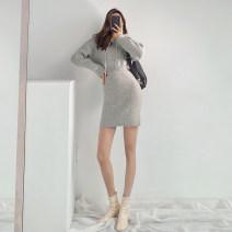 Dress Winter 2020 Light gray, black, caramel Average size Short skirt singleton  Long sleeves street Hood High waist Europe and America