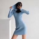 Dress Spring 2021 Light blue, gray, white, black, brown S, M Short skirt singleton  Long sleeves street Hood Europe and America