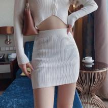 skirt Autumn 2020 S, M White, gray, black, light blue, pink Short skirt street High waist skirt knitting Europe and America