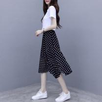 skirt Summer 2021 S,M,L,XL 1971 Polka Dot fishtail skirt, 7104 black, 7104 white, 7104 red Mid length dress commute High waist skirt Solid color Type A 25-29 years old 1971 Yumei / 7104 Yiren More than 95% Chiffon nylon Korean version