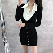 Dress Spring 2021 black S,M,L Short skirt Fake two pieces Long sleeves commute Polo collar High waist Solid color Single breasted One pace skirt routine 25-29 years old Type H Button, button polyester fiber