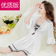 Pajamas / housewear set female Other / other Suitable for weight 45-60kg, suitable for height 150-165cm Iced silk Short sleeve sexy pajamas summer Thin money Crew neck Solid color shorts Socket youth 2 pieces More than 95% Milk white silk lace 300g Short skirt