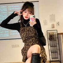 Dress Spring 2021 Leopard pattern back belt skirt S, M Short skirt singleton  Sleeveless commute square neck middle-waisted Leopard Print Socket A-line skirt routine Others 18-24 years old Type A Korean version 31% (inclusive) - 50% (inclusive) other other