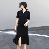 Dress Spring of 2019 Apricot, black S. M, l, XL, one size fits all singleton  Short sleeve commute Polo collar middle-waisted Solid color Socket A-line skirt routine Others 18-24 years old Type H Other / other Korean version 30% and below knitting polyester fiber