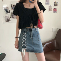 skirt Summer 2021 S,M,L,XL Blue, black Short skirt commute High waist skirt other Type A 18-24 years old 31% (inclusive) - 50% (inclusive) other other Bandage Korean version